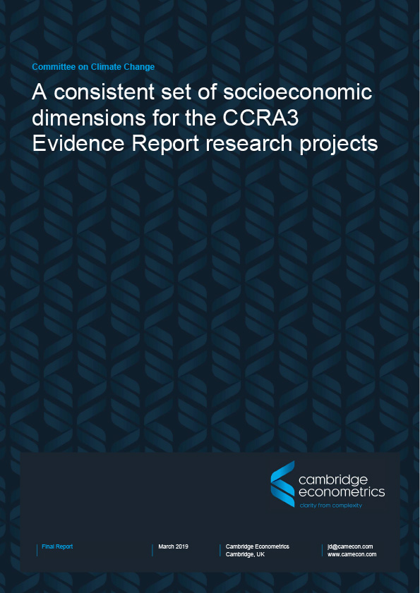 Front cover of A consistent set of Socioeconomic Dimensions for CCRA3