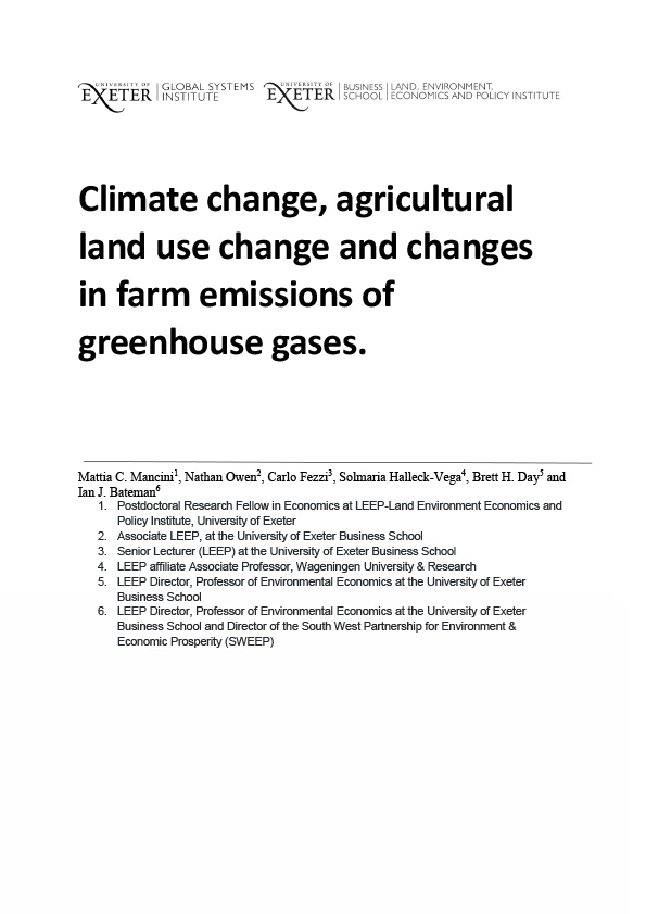 Climate change, agricultural land use change and changes in farm emissions of greenhouse gases