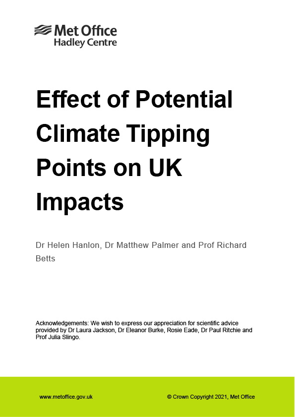 Effect of Potential Climate Tipping Points on UK Impacts