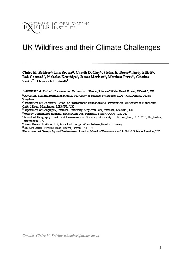 UK Wildfires and their Climate Challenges